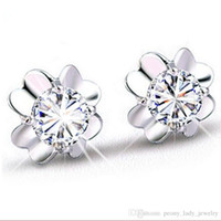 Wholesale Hot romantic charm simple crystal pure clear clover earrings sterling jewelry