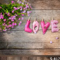 Wholesale Photography Background Love cm Vinyl Backdrops for Photography Wood Floor with Flowers Baby Photo Props Valentine s Day