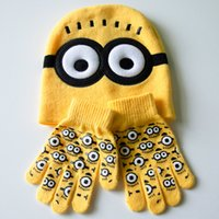 Wholesale New Winter Despicable Me Knit Hat Kid Knitting Cap Minions Knitted Caps New Hats casquette Kids Set Gloves