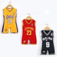 Wholesale Summer Infant Newborn Boys Romper Basketball Jersey Digital Casual Sleeveless Vest One piece Clothing Kids Baby Letter Sport Jumpsuits