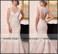dresses new york - 2016 New Stella York Wedding Dresses Sexy Back Mermaid Vintage Lace Applique Hollow See Through Covered Bottom Plus Size Bridal Gowns