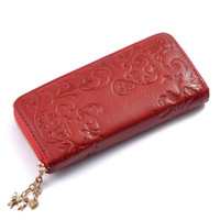 Cheap Free Shipping HOT! New Fashion Brand Designer Lady Women Long Wallet Purse Handbag Genuine Fashion Morning Glory Pattern Flower wallet