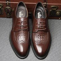 craft shoes - Hot Sale Italian Brand Brogue Wingtip Genuine Leather Man Shoes Craft Handmade Casual Oxford Men Ankle Boots Party Shoes
