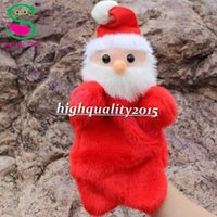 Wholesale New children Christmas gift cartoon Father Christmas soft plush red hand puppets Toys story telling gift hot sale