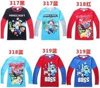 free shipping t-shirt - Minecraft For Big Boys Tshirts Long Sleeve Cute Cartoon Cotton Tees Kids T Shirt Children Autumn Tops Clothing EMS DHL J2969