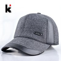 baseball cap ear flaps - Mens winter hat casual baseball cap Leather and maone stitching warm cap with ear flaps Middle aged hats for men bonnet