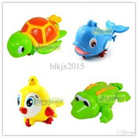 Cheap Wholesale-4 pcs New Wind-up Baby Bathing Animal Toy for Infant Kid Children Swimming Pool Pull ( Turtle + Bird + Crocodile + Dolphin )