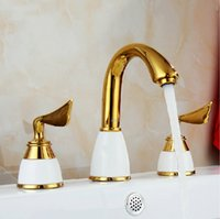 Wholesale Solid Brass Gold Plated Basin Mixer Water Tap Single Hole Bathroom Faucet Gold Faucet torneira para banheiro