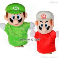 Wholesale 2015 Super Mario Bros Stand MARIO LUIGI Plush Doll Stuffed Toy Baby Hand Puppets kids gift