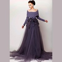 Cheap 2015 Evening Dresses A-Line Long Sleeves Myriam Fares Tulle La Star De La Robe Evening Celebrity Dresses Summer Long Prom Evening Gowns