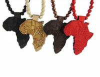 african map pendant - 1pcs Good Quality Hip Hop African Map Pendant Wood Bead Rosary Necklaces