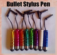 Wholesale Mini Bullet Stylus Touch Screen Pen rubber tip stylus pen with mm Dustproof Plug for iphone Samsung s3 s4 galaxy note ipad STY003
