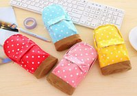 plastic pencil box - Stationery Multifunctional big capacity pencil case Dot school bag pattern Cute storage box