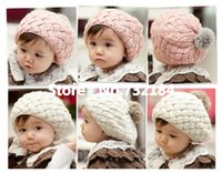 Cheap Kids Girls Baby Handmade Hat Crochet Knitting Beret Hats Caps Cute Winter Beanie Free&Drop Shipping