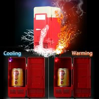 Wholesale Mini USB Refrigerator Fridge Beverage Drink Cans Cooler Warmer Red Blue LED Light H16639