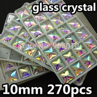 Wholesale 270pcs box mm Square Sew on crystal rhinestones Crystal Clear AB Color Flatback Holes Sewing glass Crystal stones Ifirstyle