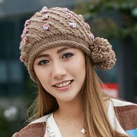 thermal protector - women winter knitted hat cap lovely yarn large sphere thermal protector ear cap casual outdoor cap
