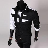 Wholesale 2015 new men s shirts long sleeved shirt personalized stitching C01