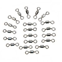 Wholesale 20Pcs Shape Stainless Steel Ball Bearing Fishing Rolling Swivels Solid Rings Connector Lures Fishing Tackle