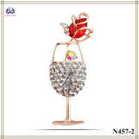 Wholesale Rhinestone Brooch Bouquet For Wedding Real Plantinum Plating Wine Glass Shape Brooch With Rose Shape Crystal