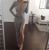 wholesale sexy clothing - Maxi Dresses Autumn Women Designer Dress Long Sleeve Sexy Club Dress Deep V NecK Bandage Bodycon Dresses for Party Women Clothing
