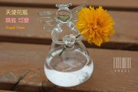 Glass garden angels - 2015 Fashion New Transparent Hanging Unique Angel Glass Vase Hydroponic Plant Pot Hanging Container Home Garden Decor