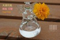 Wholesale 2015 Fashion New Transparent Hanging Unique Angel Glass Vase Hydroponic Plant Pot Hanging Container Home Garden Decor