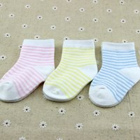 Wholesale 2015 New Born Baby Socks to month baby cotton Socks For boys and girls Baby Cotton Strip sock