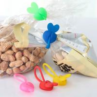Wholesale Hot Sale Eco friendly Silica Gel Sealing Clip Food Bag Bands Bobbin Bundled Winder Belt Wire Random Color