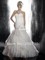 Wholesale 2012 new design sweetheart beaded organza mermaid bridal wedding dresses appliques corset back W384