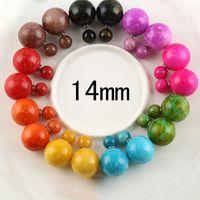 bead earrings patterns - New Fashion Colorful Design Elegant Double Pearl Earrings For Women Cute Circle Pattern Beads Ball Earrings E1579 E1587