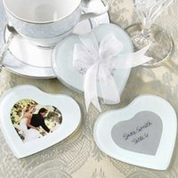 glass coasters - wedding favor gift and giveaways for guest European style Heart Shape Glass Photo Coaster party favor keepsake