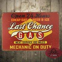 automotive signs - Last Chance Gas Station Tin Metal Sign Car Automotive