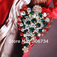 aqua colored earrings - High Quality Multi Colored Crystal Christmas Tree Brooch Pin Christmas Gift For Parties on Sale