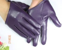 fashion fingerless leather gloves - Purple Half Hand Gloves Breathable PU Leather Pack of manicure multicolor fashion PU gloves