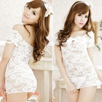Cheap Women Floral Print Lace Bowknot Hollow Underwear Babydoll Sleepwear Sexy Mini Dress Lingerie Set White Thong Free Shipping 4043