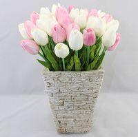 achat en gros de fleurs réelles tactiles mixtes-Fleur artificielle de haute qualité Couleurs Mixtes PU Latex Real Touch Simulation Artificielle Fleur Tulipe Bouquet Mariage Nuptiale AF201