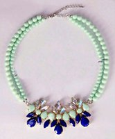 Cheap PK South Korean small fresh mint green candy blue green gem diamond pearl flowers clavicle chain short necklace