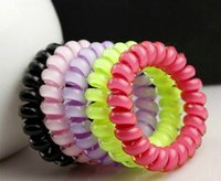 Wholesale 5Pcs Colors Telephone Wire Hair Accessories Hair Ring Rope Traceless Women Gum Elastic Candy Colored Headdress Tools