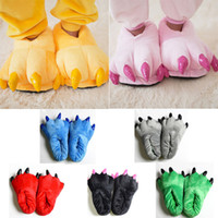 adult footed sleeper - Sleeper Paw Shoes Plush Cartoon Women Girls Pajamas Adult Monster Big Feet Coral Velvet Autumn Winter Wear Gift