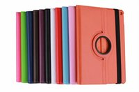 Cheap 400pcs 360 Degree Rotating leather Cases for ipad air 2 6 5 4 3 2 mini 1 retina mini3 tablet case Cover Stand Holder 9.7 inch 7.9 10 color