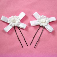 Wholesale 50pcs White Handmade flowers Hair Pins Wedding Party Bride Hair Grips Woman Hair Clips Rice white Bride Bridesmaid Clip