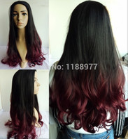 Cheap women's wig black Wine red synthetic hair prodcuts hot sale Fashional Long wavy wig two tones not full lace front wigs ombre wig