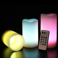 Wholesale 12 Colors Changing LED Flameless Ivory Candles light set with Remote Control ZH299