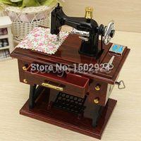 Wholesale New Vintage Mini Sewing Machine Style Mechanical Music Box Gift Birthday gift Sartorius Model Musical Toy