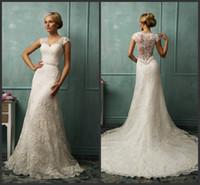 Wholesale Sheath Wedding Dresses V Neck Capped Sleeves Amelia Sposa Ivory Bridal Gowns Crystal Beading Belt Lace Chapel Train Donata Vintage KR