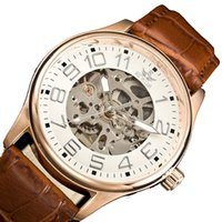 big clock hands - Big face watches for men vine gold classic casual clock transparent strap skeleton unique wristwatches