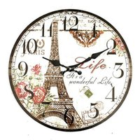 Wholesale High Quality Large Wall Clock Eiffel Tower Vintage Rustic Shabby Home Office Cafe Bar Decoration Art