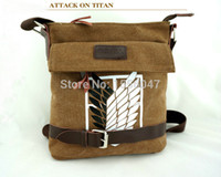 attack body - Anime Attack On Titan Cosplay Messenger Bag Fashion Khaki Wings of Liberty Boy Girl SchoolBag Unisex Hiking Campus Canvas Bags