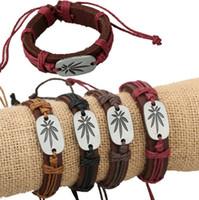 alloy maple leaves - NEW Men s women s Leather Wrap Bracelet Jewelry Vintage Maple leaves Leaf Genuine Handmade Alloy Charms Leather Bracelet CC03